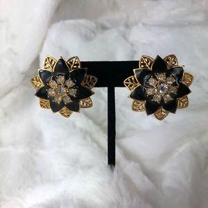 Avon high-glam poinsettia  gold & enamel earrings